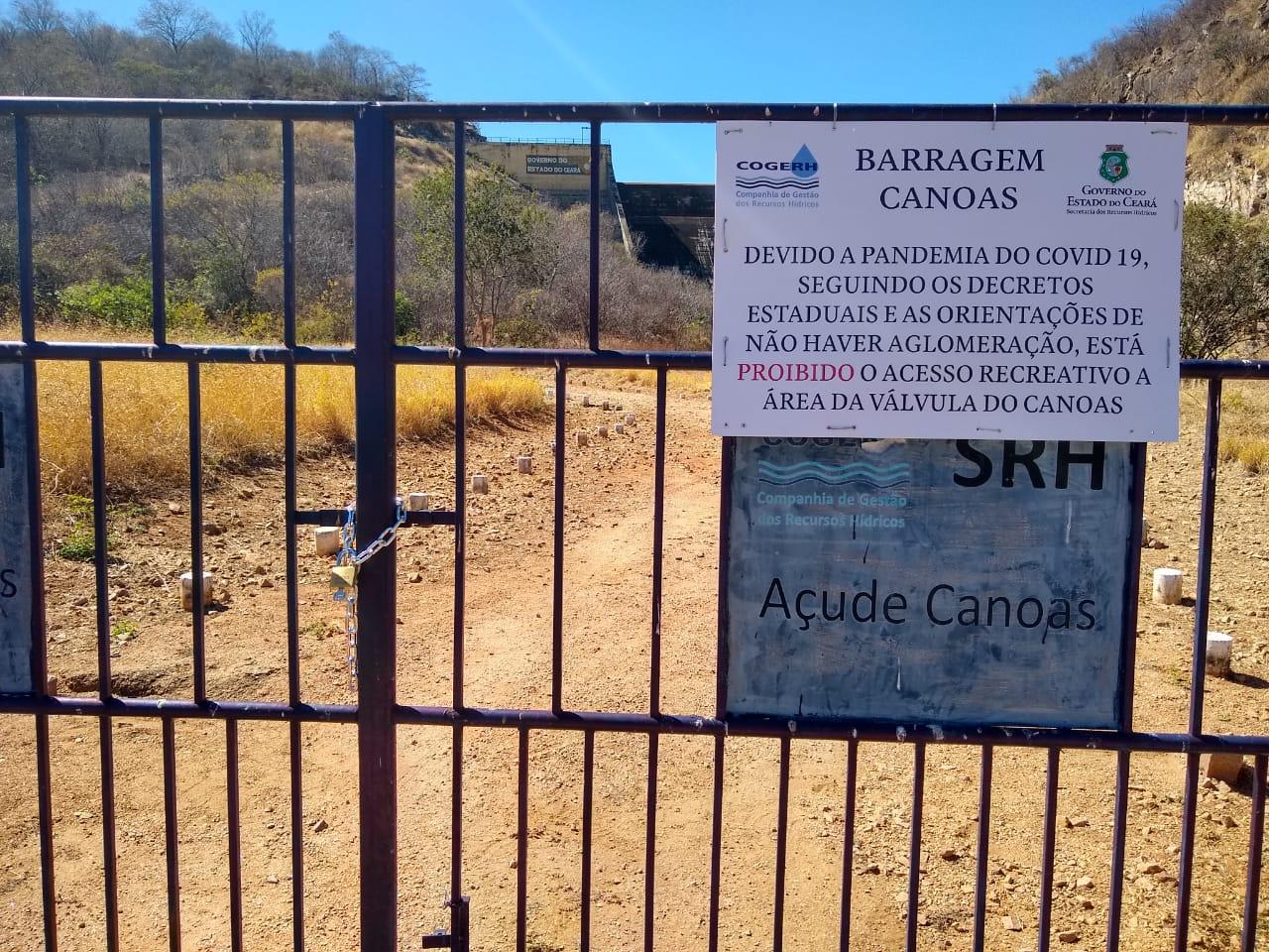 Pandemia: acesso recreativo à válvula do Açude Canoas é proibido